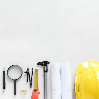 Set of safety gear and drafting tools