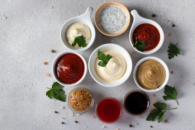 ソースのセット-ケチャップ、マヨネーズ、マスタード、大豆ソース、バーベキューソース、タルタル、マスタードシード、クランベリーソース、ライトグレーの背景にディルのあるサワークリーム。上から見る