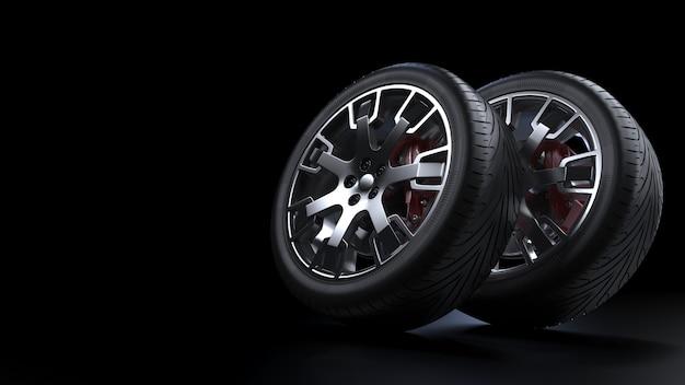 여러 자동차 바퀴 측면보기 3d 렌더링 세트