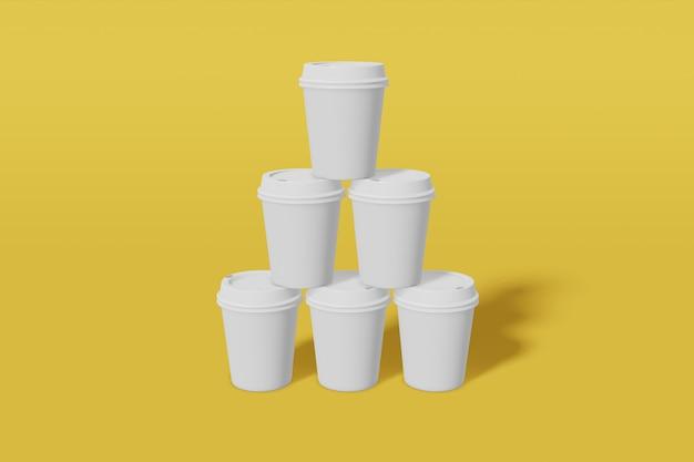 Набор из шести бумажных стаканчиков с крышкой-подставкой в форме пирамиды. 3d рендеринг