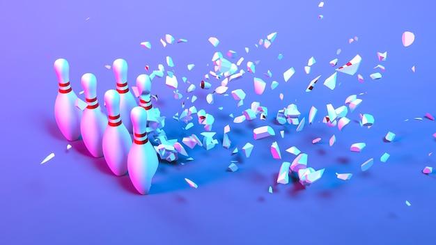 Набор кегли в неоновом свете, падающий на мелкие детали, 3d иллюстрация