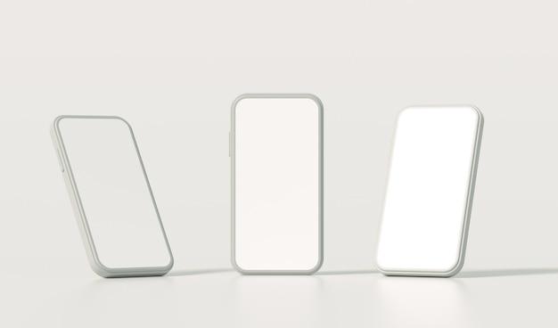 빈 화면이 스마트 폰 세트, 3d 렌더링 현실적인 전화 세트.