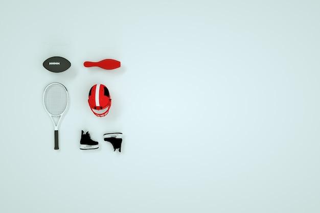 白い背景、3dグラフィックスのスポーツアクセサリーのセット。ホッケーのヘルメット、スケート、テニスラケット、ボールのアイソメトリックモデル。白い背景の上のスポーツ用品、コンピュータグラフィックス