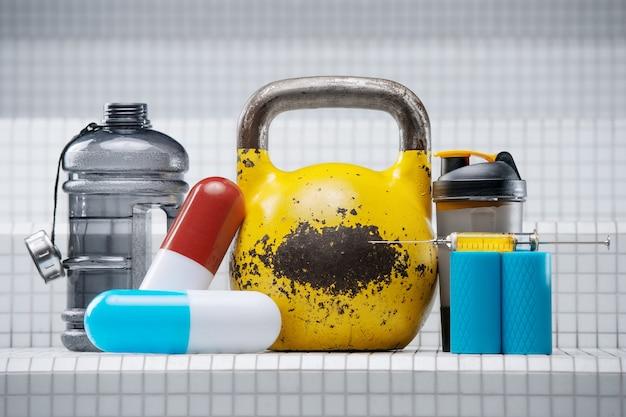 スポーツアクセサリーのセット。白い壁に丸薬、シェーカー、注射器、注射器、ステロイド、薬、水筒が付いた黄色のケトルベル。スポーツと医学の概念