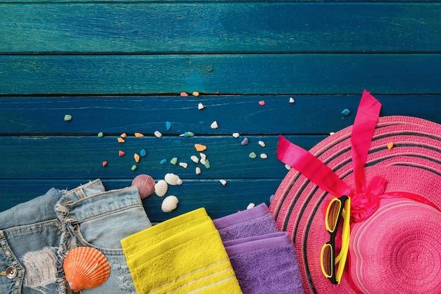 夏、オブジェクト、背景、青、木、オブジェクト、夏、概念、板