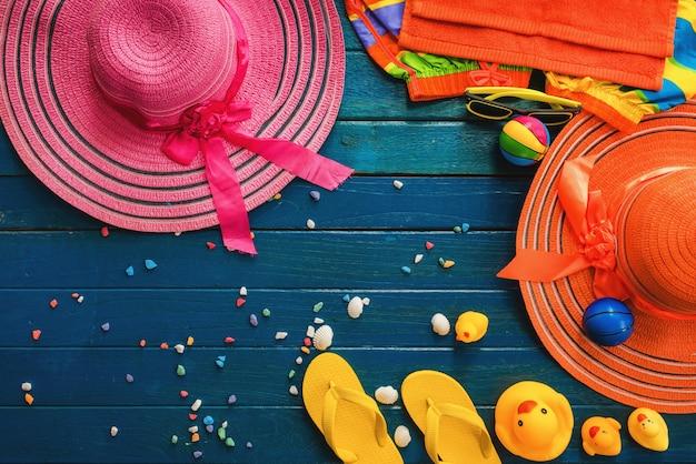 夏、オブジェクト、背景、青、木、オブジェクト、夏、概念、厚板