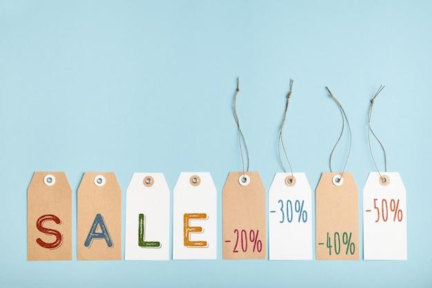単語販売と異なるパーセント割引のタグのセット