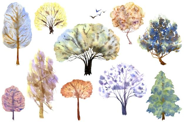 白い背景の上の10本の冬の木のセット手描き水彩イラスト