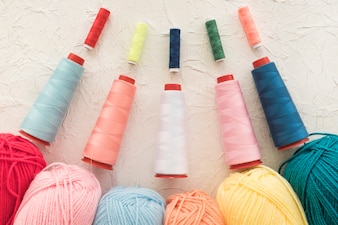Set of threads near yarn