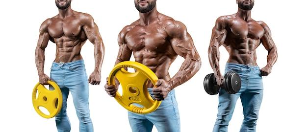 Набор из трех сексуальных мускулистых мужчин. позирует на белом фоне с гантелями и штангами. бодибилдинг и фитнес-концепция. смешанная техника
