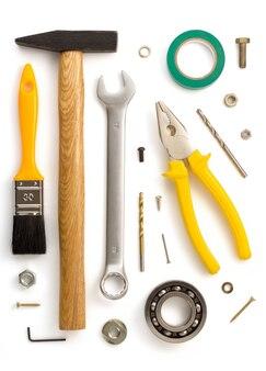 도구 및 악기 흰색 배경에 고립의 집합
