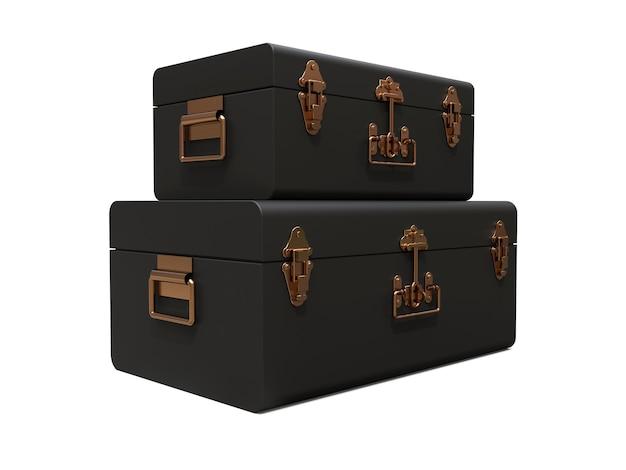絶妙な留め金が付いている2つの黒い革のスーツケースのセット。何世紀にもわたる伝統を持つクラシックなプレミアムデザイン。ヴィンテージスタイルのモダンな新製品。 3dイラスト。