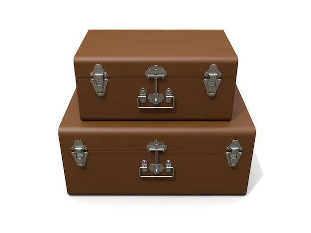 Комплект из двух коричневых кожаных чемоданов с изысканными застежками. классический премиальный дизайн с многовековыми традициями. современная новинка в винтажном стиле. 3d иллюстрации.