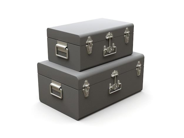 絶妙な留め金が付いている2つの灰色の革のスーツケースのセット