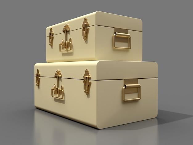 絶妙な留め金が付いている2つのアイボリーの白い革のスーツケースのセット。何世紀にもわたる伝統を持つクラシックなプレミアムデザイン。ヴィンテージスタイルのモダンな新製品。 3dイラスト。