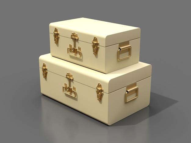 絶妙な留め金が付いている2つのアイボリーの白い革のスーツケースのセット