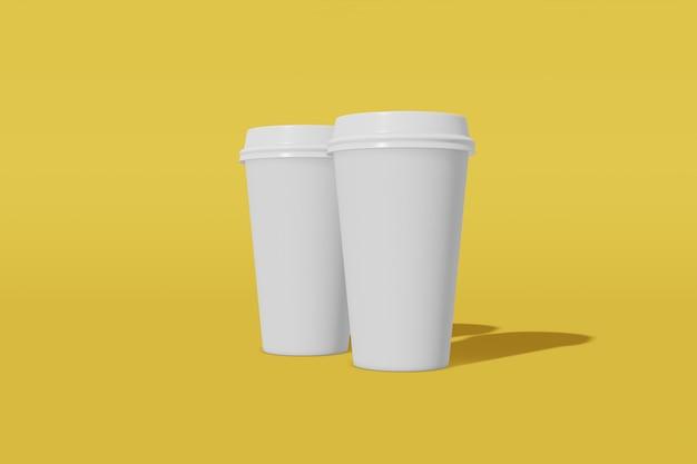 Набор из двух белых бумажных стаканчиков с крышкой на желтом, 3d-рендеринг