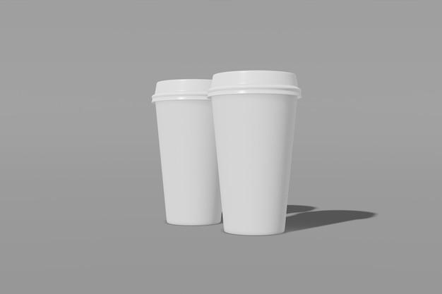 灰色の背景にふた付きの2つのホワイトペーパーモックアップカップのセット。 3dレンダリング