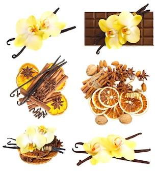 Набор стручков ванили с цветком орхидеи, палочками корицы, звездочками аниса, орехами и ломтиками сушеного апельсина на белом фоне