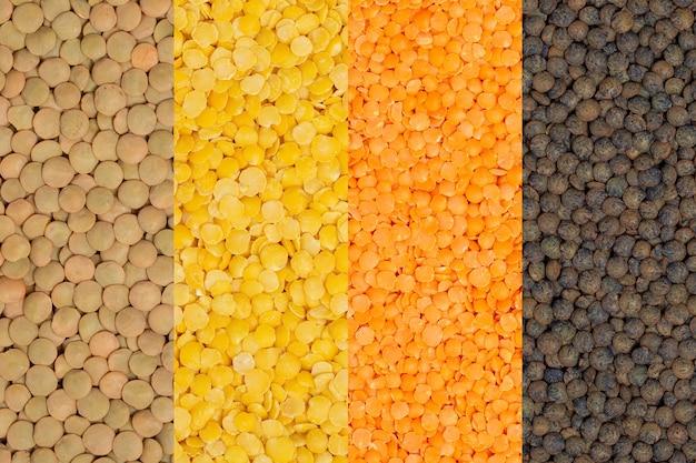 さまざまな豆のセット:レンズ豆。マメ科植物の背景。