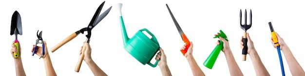 さまざまな園芸工具機器のセット。ガーデンツールアイテム。必須の農業作業プラント