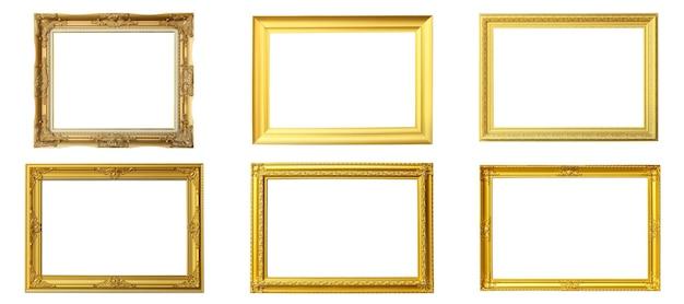 ビクトリア朝の古いフレームのセット。孤立した白い背景の上の古典的なゴールドの額縁。