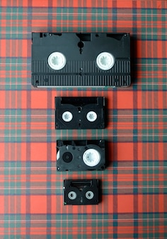 異なるサイズのビデオテープのセット