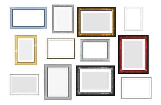 白い背景で隔離の写真や写真のビンテージ木製フレームのセット