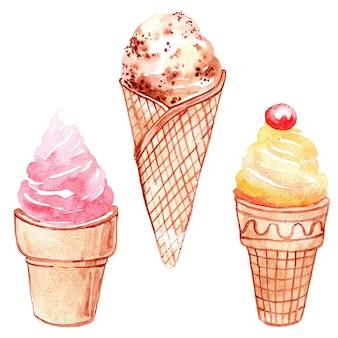 白い背景で隔離の棒に水彩のアイスクリームのセットです。