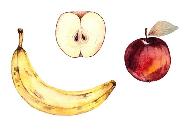 果物、リンゴ、バナナ、白い背景の上の孤立したイラストと水彩イラストのセット