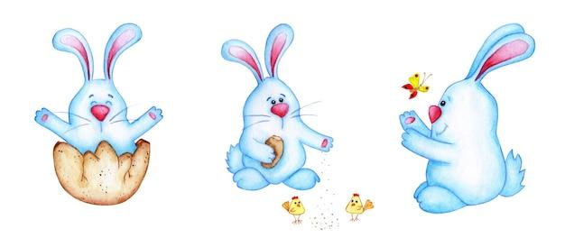 부활절 블루 토끼의 수채화 삽화의 집합입니다. 아이들을위한 토끼의 귀여운 만화 그리기. 부활절, 전통, 종교. 흰색 배경 위에 격리. 손으로 그린.