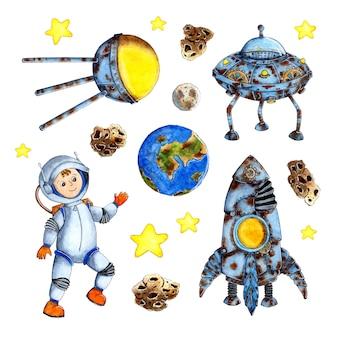 아이들을위한 수채화 그림 공간 손으로 그린 배경 세트 만화 로켓 위성 행성