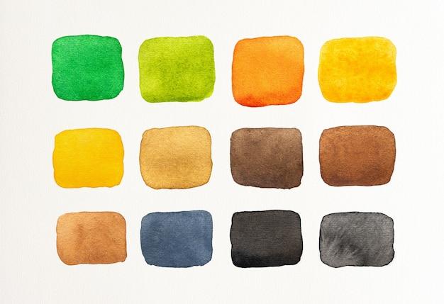 白い背景の水彩スポットのセットです。カラーシェードコレクション。色とりどりのカラフルな水彩ブラシ。閉じる。