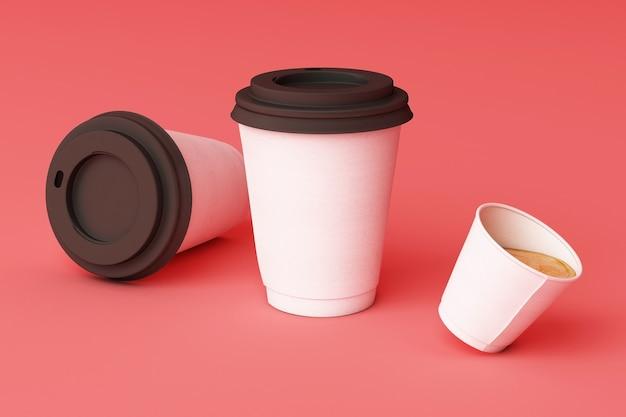 분홍색 배경에 흰색 커피 컵의 집합입니다. 3d 렌더링