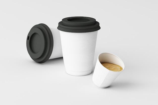 白い背景の上の白いコーヒーカップのセット。 3dレンダリング