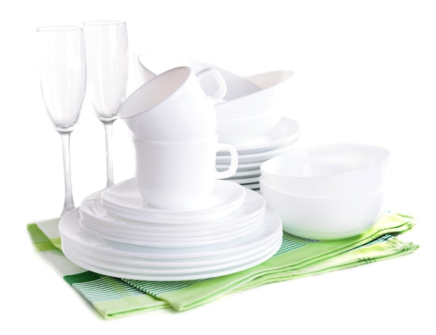 白で隔離の白い皿のセット