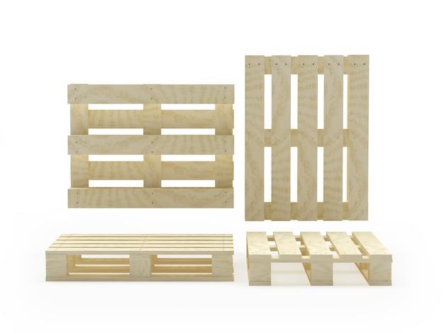 Набор деревянных поддонов в различных проекциях