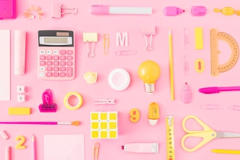 Set of yellow and pink stationery
