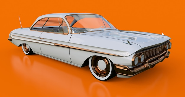 Set old american car in excellent condition. 3d rendering.