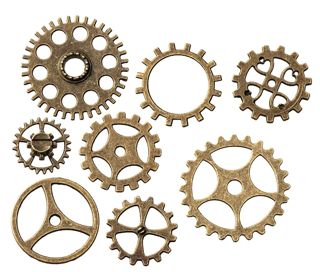 Set of old metal gears from clock isolated not white background.
