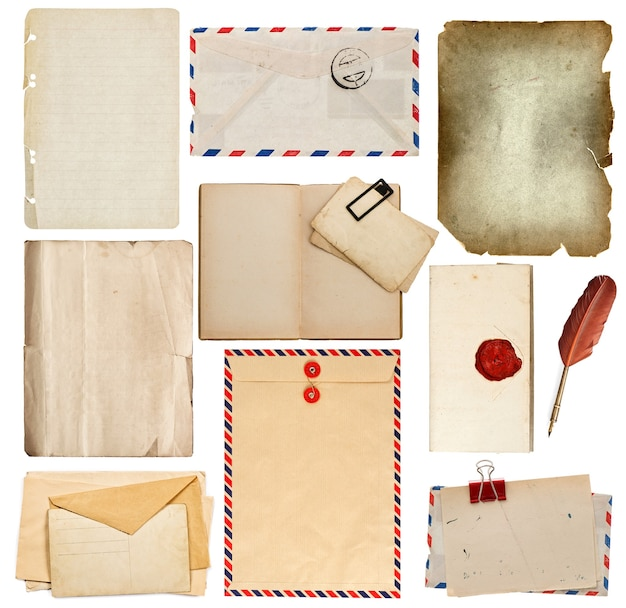 Set of old paper sheets, book, envelope, ink pen; manuscript with seal, card isolated on white background