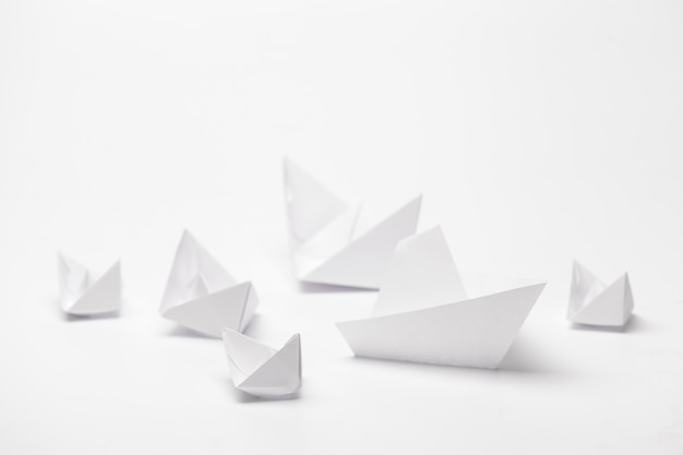 Set of origami paper boats.