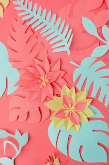 Set of origami papercraft flowers, branches on living coral