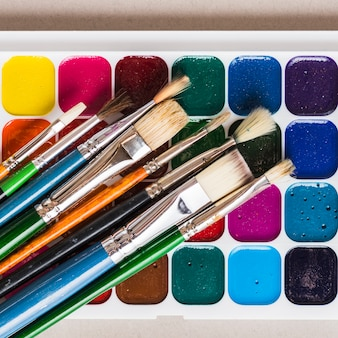 Set of paintbrushes and watercolor