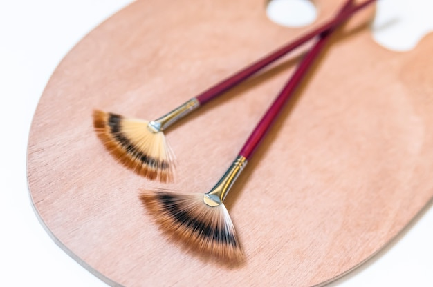 Set of painting brushes isolated on white background.