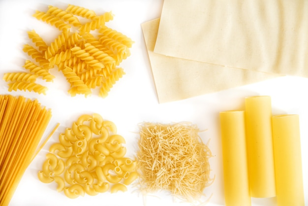 Set of pasta on a white background
