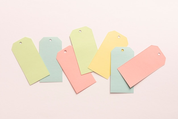 Set of pastel cardboard tags