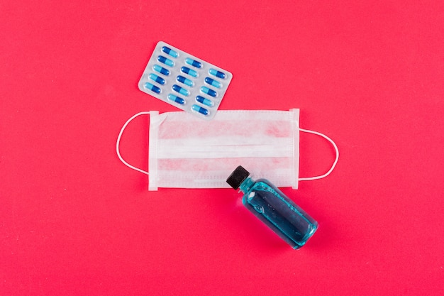 Set of pill pack and bottle and medical mask