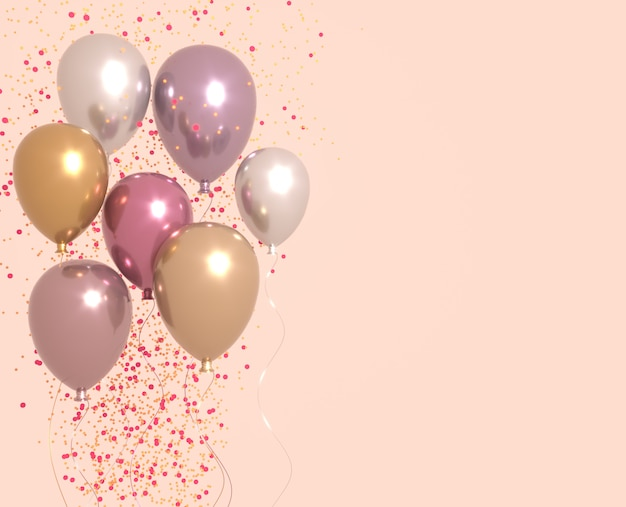 Set of pink and golden glossy balloons with sparkles, party background. 3d render for birthday, party, wedding or promotion banners or posters. vivid and realistic illustration.
