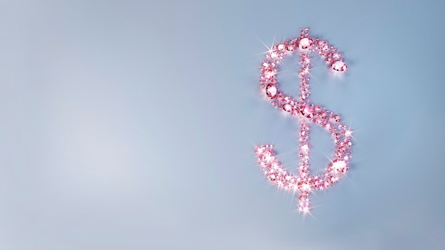 Set of pink precious stones scattered on the surface in the form of a dollar sign. 3d illustration